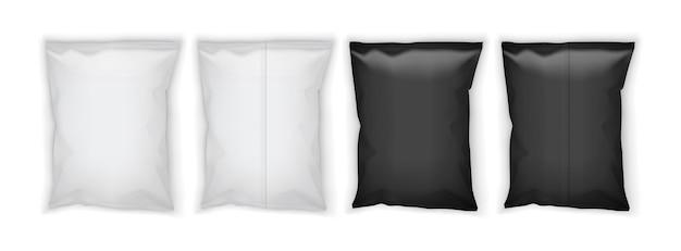 Embalagem branca e preta em branco isolada na vista superior e inferior do fundo branco