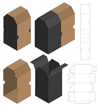 Embalagem caixa de design de modelo de corte. 3d