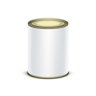 Embalagem caixa de lata branca para chá ou café