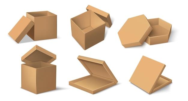 Embalagem cartonada. maquete realista do pacote do produto em papelão para comida e entrega, cubo