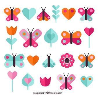 Embalagem colorida de borboletas e plantas em design plano