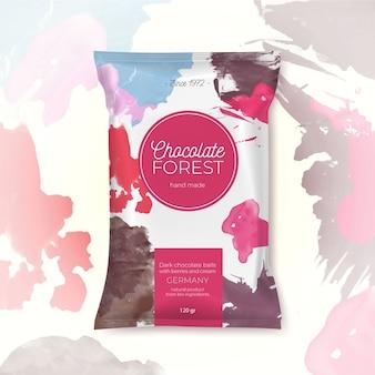 Embalagem colorida de floresta de chocolate