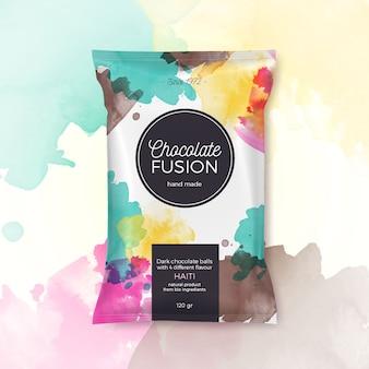 Embalagem colorida de fusão de chocolate