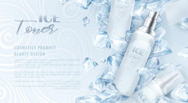 Embalagem cosmética com design de gelo