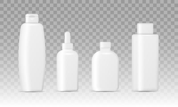 Embalagem cosmética realista. conjunto de frascos de cosméticos isolados em um fundo transparente. coleção de embalagens para cremes, sopas, espumas, shampoo.