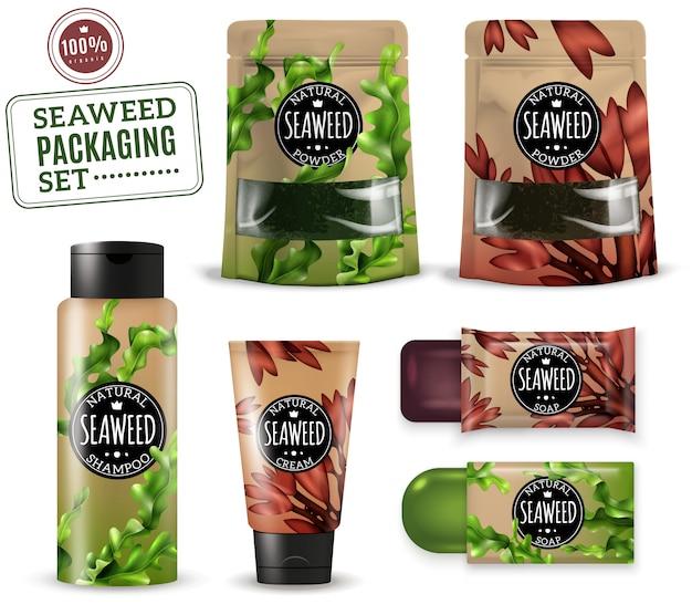 Embalagem cosmética realista de ervas daninhas do mar