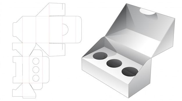 Embalagem de 1 peça com 3 inserções de círculo