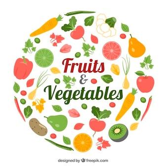 Embalagem de alimentos saudáveis com frutas e legumes