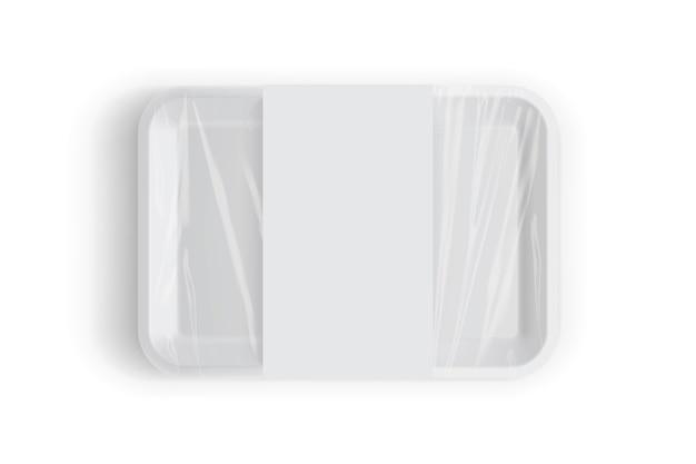 Embalagem de bandeja branca para alimentos isolada em fundo branco