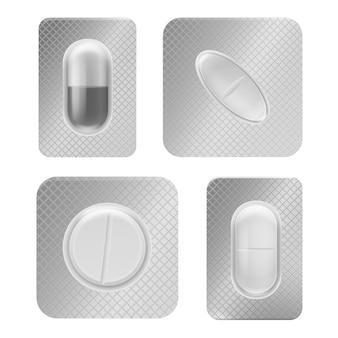 Embalagem de blister de pílula. comprimido médico realista embalado individualmente, cápsula de vitamina em vista frontal de um recipiente de plástico, modelo isolado de vetor de embalagem de medicamentos de farmácia antibióticos ou analgésicos