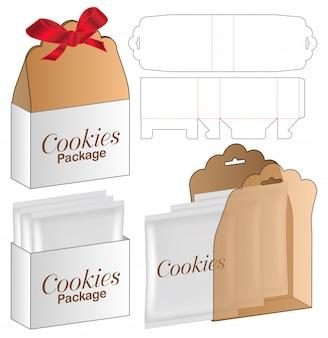 Embalagem de caixa de biscoitos design de modelo de corte.