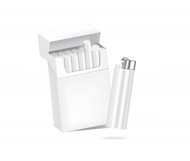 Embalagem de caixa de cigarro realista 3d com chama mais leve. marca de mercadoria não saudável. modelo de objeto em fundo branco.