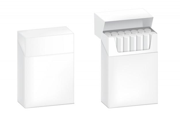 Embalagem de caixa de cigarro realista 3d. marca de mercadoria não saudável. modelo de objeto em fundo branco.