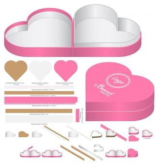 Embalagem de caixa de forma de coração die cut design de modelo. mock-up 3d