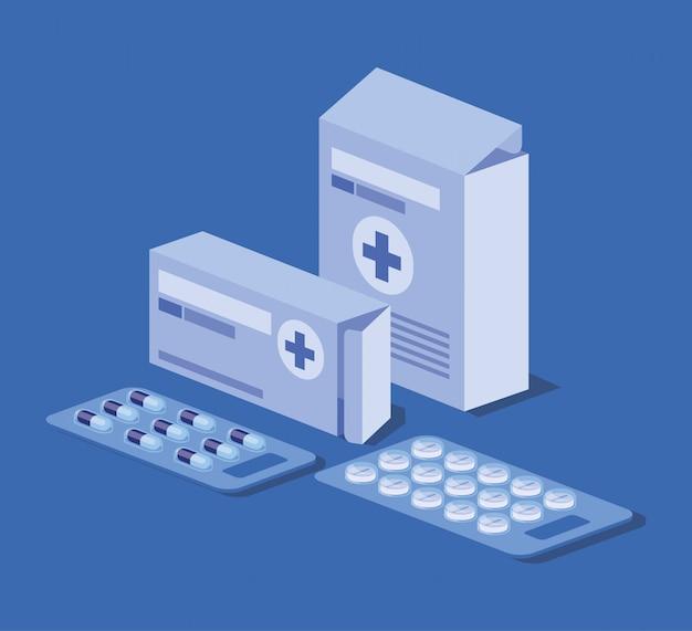 Embalagem de caixa de medicamento com comprimidos e cápsulas
