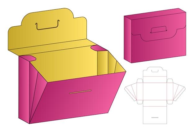 Embalagem de caixa de molde recortado modelo de maquete 3d Vetor Premium