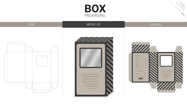 Embalagem de caixa e modelo de recorte de maquete