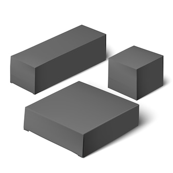 Embalagem de caixa realista de modelo em branco.