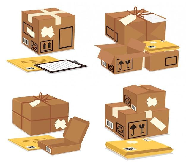 Embalagem de caixas marrons e envelopes amarelos