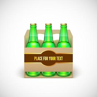 Embalagem de cerveja. garrafas verdes realistas