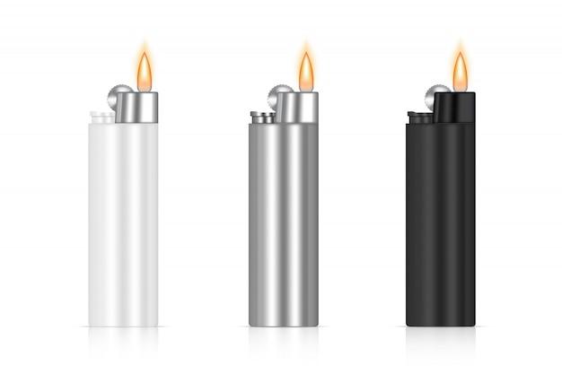 Embalagem de chama 3d mais leve realista. marca de mercadoria de fogo. modelo de objeto em fundo branco.
