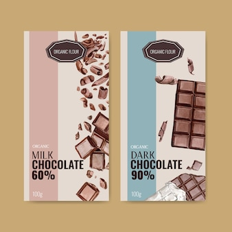 Embalagem de chocolate com barra de chocolate quebrou, ilustração de aquarela