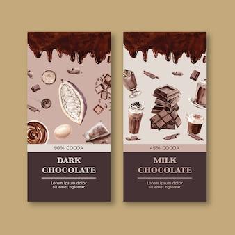 Embalagem de chocolate com ingredientes fazendo cacau, ilustração de aquarela