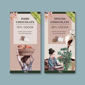 Embalagem de chocolate com mulher colheita ingredientes cacau, ilustração aquarela