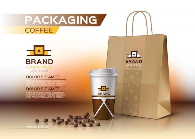 Embalagem de copos de café maquete