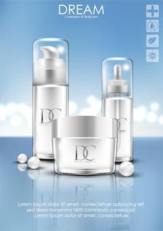 Embalagem de creme cosmético para cuidados com a pele
