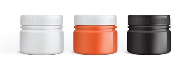 Embalagem de creme de plástico branco laranja e preto isolada no fundo branco