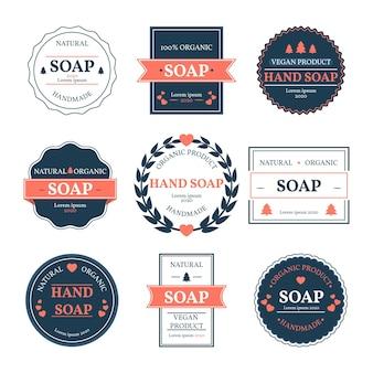 Embalagem de diferentes rótulos de sabonete