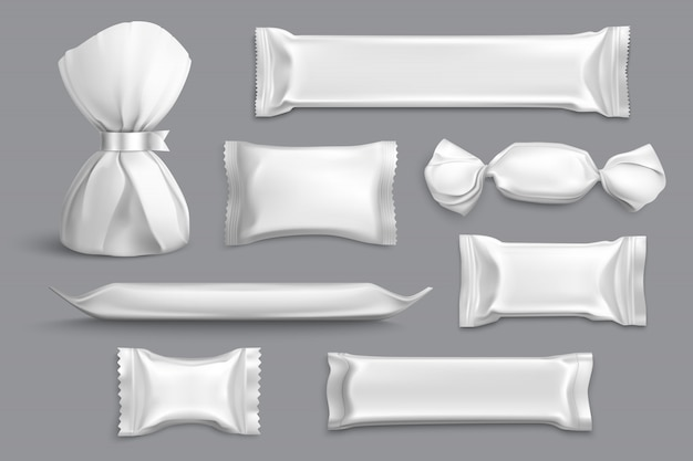 Embalagem de doces fornece coleção de amostras de maquete em branco isolado produtos com invólucros de alumínio cinza realista