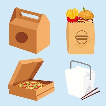 Embalagem de fast-food, hambúrgueres, caixa de pizza, comida chinesse em uma caixa branca