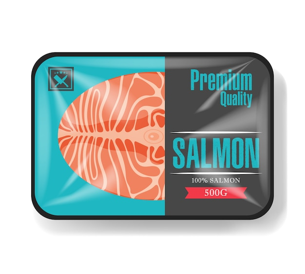 Embalagem de filé de salmão.