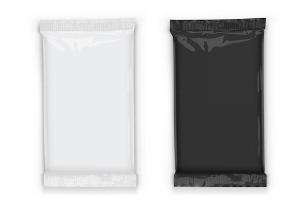 Embalagem de fluxo com sombras transparentes isoladas em branco
