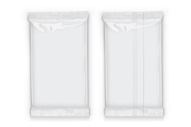 Embalagem de fluxo de plástico branco com sombras transparentes isoladas