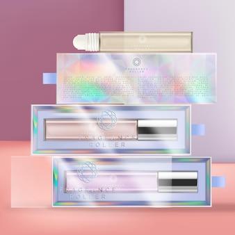 Embalagem de frasco de vidro de fragrância roll on com embalagem de caixa de acetato iridescente ou holográfica.