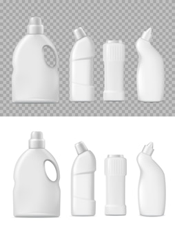 Embalagem de frascos de detergente e limpador 3d.