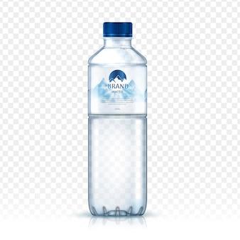 Embalagem de garrafa de água mineral, com imagem de montanha de neve no rótulo, fundo transparente isolado