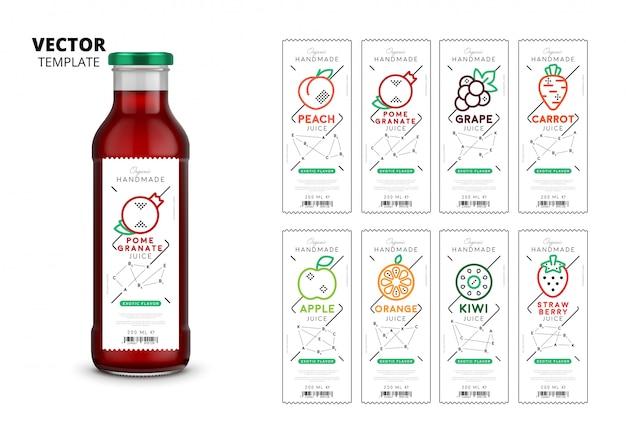 Embalagem de garrafa de vidro realista de suco fresco com conjunto de etiquetas
