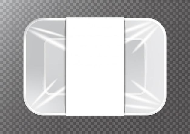 Embalagem de isopor com embalagem de papel branco