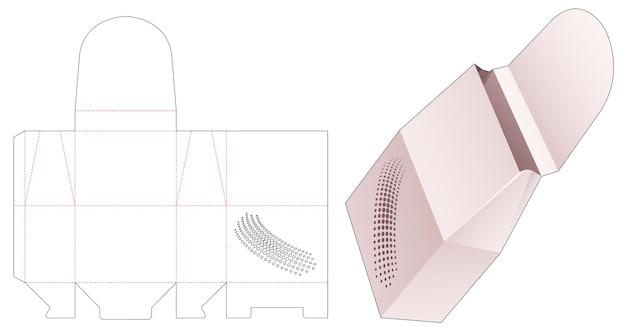 Embalagem de lanche de papel virada com molde de pontos de meio-tom estampados