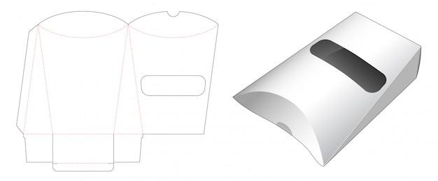 Embalagem de lanche travesseiro com janela cortada modelo de design