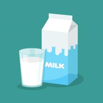 Embalagem de leite de vetor e copo cheio de leite