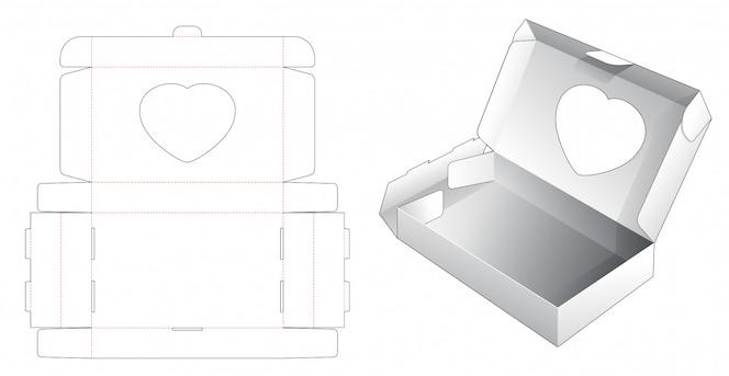Embalagem de padaria com modelo de corte e vinco de janela de coração
