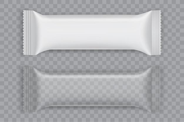 Embalagem de papel branco isolada na simulação de vetor de fundo branco