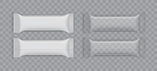 Embalagem de papel branco isolada no fundo branco