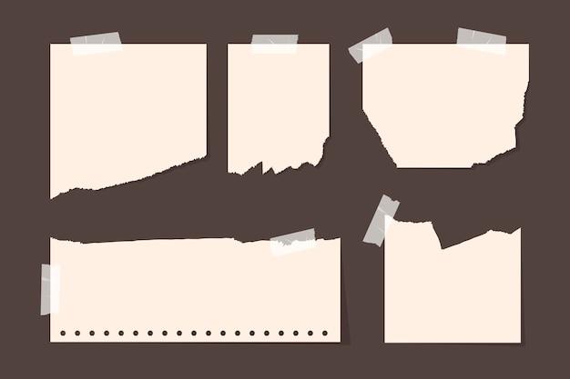 Embalagem de papel rasgado em diferentes formas