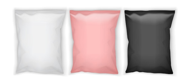Embalagem de papel rosa e preto branco isolada no fundo branco